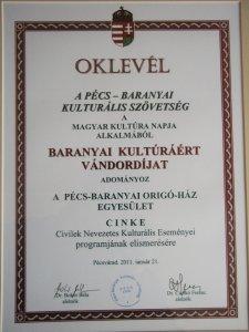 Baranyai Kultúráért Vándordíj 2011 - CINKE program
