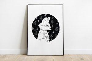 Rókás linometszet