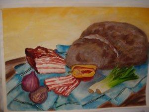 Szalonna és kenyér   - 33 x 48   aqvarell - pasztell