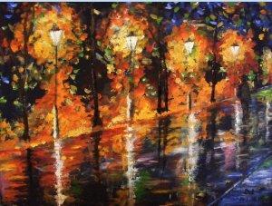 Hazafelé (Afremov festménye ihletésére) 40 x 50 cm, olajfestmény, farostlemezre