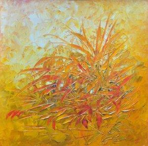 PIRONKODÓ 40X40 olaj, vászon (festőkés)