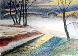 Ereszkedik a köd / akvarell-ceruza /
