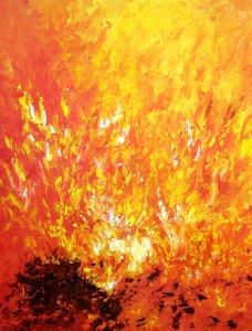 Tűz 40x50 olaj, farostra kasírozott vászon (festőkéses technika)