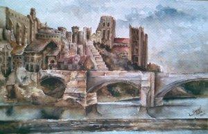 A durhami katedrális és híd : Thomas Girtin festménye alapján